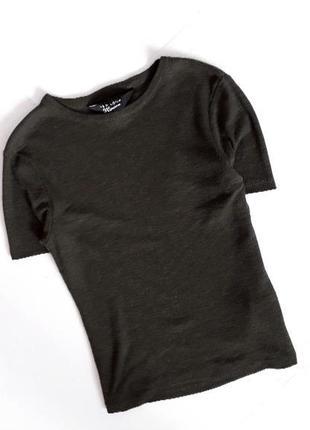 1+1=3 топ футболка в рубчик хакі ізумрудний