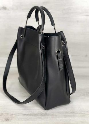 Черная молодежная сумка с косметичкой и двойными ручками4 фото