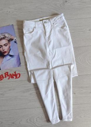 Стильные скинни джинсы с высокой посадкой topshop jamie white jeans