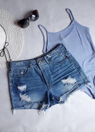 Суперовые рваные джинсовые шорты с высокой талией h&m