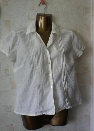 Белая льняная блуза, рубашка,  лен, от hennes, разм.46