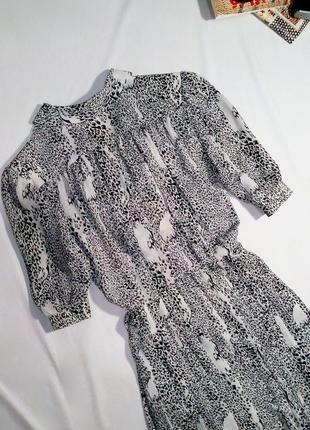 Винтажное (ретро) шифоновое платье миди в актуальный принт, имитирующий леопард4 фото