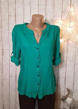 Легкая зеленая блузка рубашка блуза с коротким рукавом и с карманчиком р. l