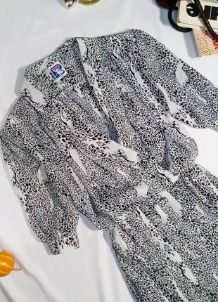 Винтажное (ретро) шифоновое платье миди в актуальный принт, имитирующий леопард3 фото