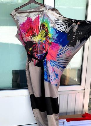 Шелковое платье красивый принт асимметрия karen millen 12