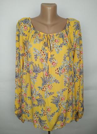 Блуза натуральная штапиль красивая в цветочный принт uk 16/44/xl