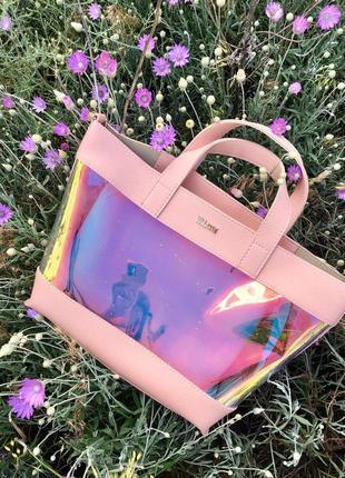 8 расцветок! голографическая сумка 2 в 1 прозрачная перламутровая летняя сумочка