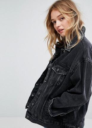 Стильная графитовая джинсовая куртка оверсайз pull & bear s