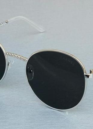 Chanel очки женские солнцезащитные черные в металлической оправе