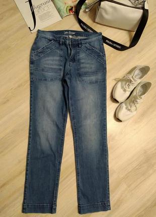 Стильные крутые брюки джинсы прямые с высокой посадкой синие укороченные