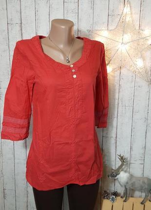 Красная кораловая хлопковая рубашка блуза с вышивкой этно стиль vero moda р. s - м