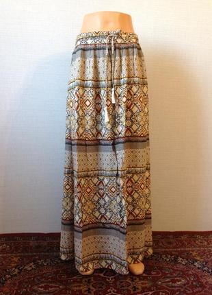 Летняя лёгкая юбочка макси орнамент  с карманами 100% вискоза  размер 14-16