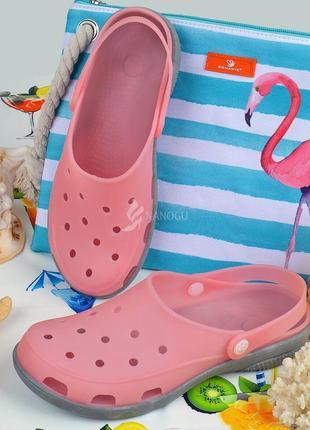 Сабо женские кроксы пудровые pink clogs силиконовые влагостойкие