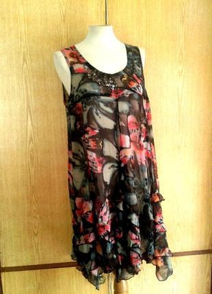 Шифоновое прозрачное платье, l
