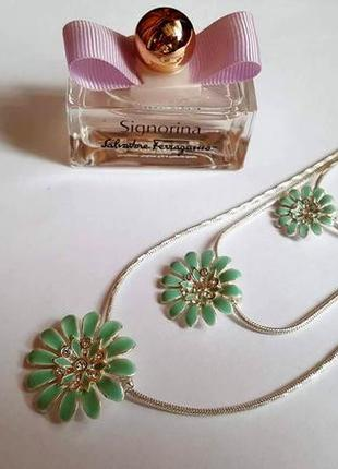 Колье цветы зеленая эмаль pilgrim дания элитная ювелирная бижутерия