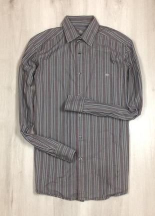 Приталенная рубашка lacoste m-l лакоста серая мужская