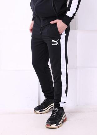 Спортивные штаны черные с белым лампасом