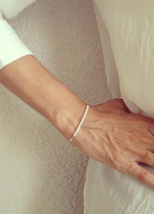 Распродажа! браслет с белыми бусинами стильный элегантный золотая цепочка свадебный