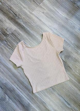 Женская бежевая  футболка топ new look