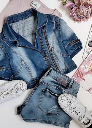 Супер крутой короткий джинсовый пиджак .2 фото