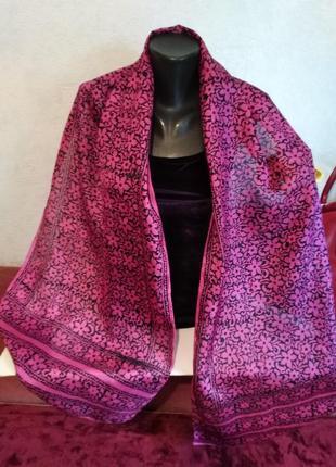 Натуральный шелк, ручная работа, широкий малиновый шарф, индия, 41*180