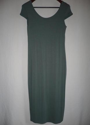 Платье макси облегающее оливковое