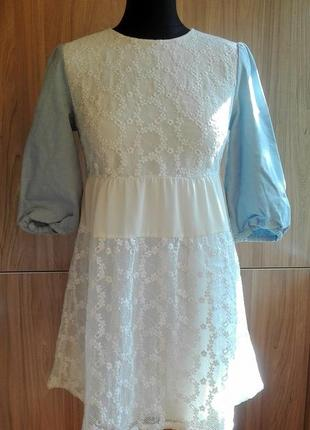 Белое кружевное платье с шифоновыми вставками ochirly