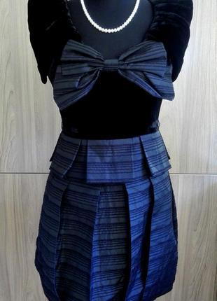 Платье с бархатным верхом, юбка баллон, ретро винтаж