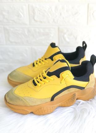 Женские желтые кроссовки на толстой подошве ugly shoes