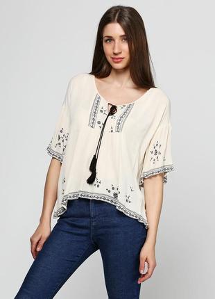 Акция! короткая туника блуза футболка с принтом вышивки