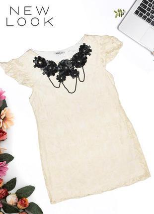 Платье кружевное с колье на декольте new look