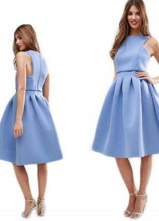 Новое нежное голубое летнее вечернее выпускное платье миди шикарное asos пышное