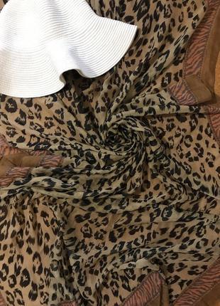 Пляжное парео шаль накидка палантин в леопардовый принт