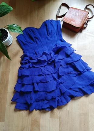 Синее платье с воланами, р. хс-с
