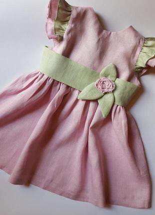 Малиновый сорбет с мятой-нежнейшее ррзовое платье из натурального льна