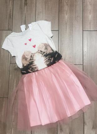 Костюм: юбка с фатином и футболка