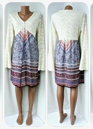 Оригинальное платье бохо bodyflirt с кружевным верхом.размер uk m/eur 40-42.
