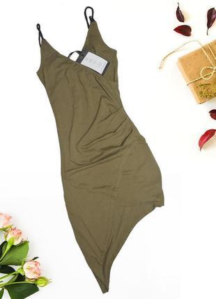 Асимметричное хаки платье lofty manner