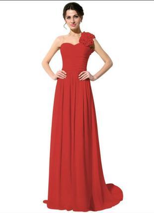 Выпускное платье вечернее красное шифон