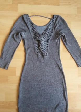 Очень красивое серое платье по фигуре р.34