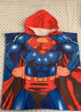 """Детское пляжное полотенце-пончо с капюшоном """"superman"""""""