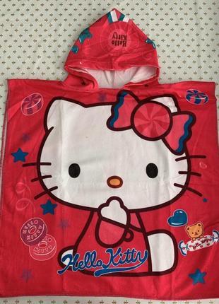 """Детское пляжное полотенце-пончо с капюшоном """"hello kitty"""""""