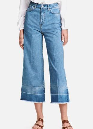 Широкие голубые джинсы кюлоты h&m