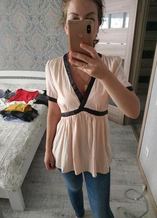 Новая нежная вискозная блуза пудрового цвета