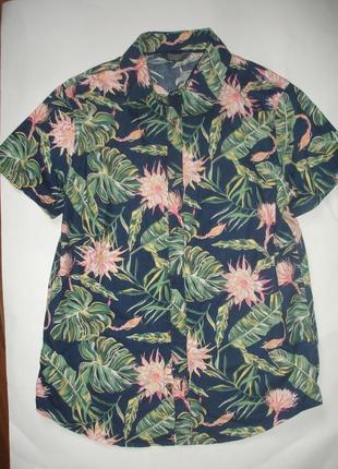Фирменная крутая летняя рубашка мальчику 12-13 лет