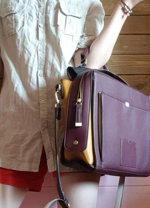 Бордовая сумка accessorize почтальонка портфель для ноутбука в универ школу иск. кожа