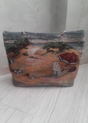 Гобеленовая пляжная сумка