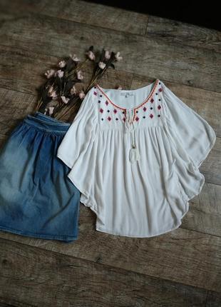 Белая блуза/туника/кроп от clockhouse с вышивкой в бохо стиле-xs