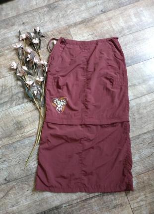 Легкая спортивная юбка миди/мини от jackwolfskin travel 2в1/бордо-s-m