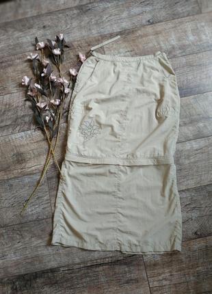 Легкая спортивная юбка миди/мини от jackwolfskin travel 2в1/беж-s-m